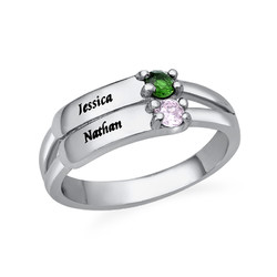 Engraved Two Birthstone Ring in Sterling Silver product photo