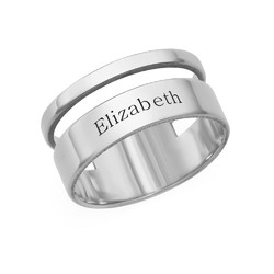 Asymmetrical Name Ring in Silver product photo