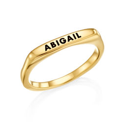 Stackable Rectangular Name Ring in Gold Plating product photo