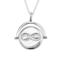 Spinning Infinity Pendant Necklace in Silver product photo