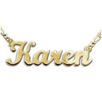 Double Thick 18k Gold-Plated Silver Script Style Name Necklace