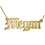 14k Gold Old English Style Name Necklace