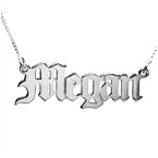 14k White Gold Old Englsih Style Name necklace