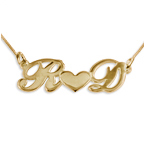 Personalized 18k Gold-Plated Silver Couples Heart Necklace