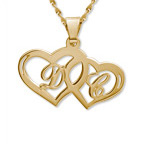 14k Gold Couples Hearts Pendant
