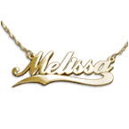 Personalized 14K Gold Wave Name Necklace