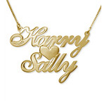 18k Gold-Plated Sterling Silver  Two Names & Heart Pendant