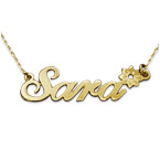 14k Gold Flower Name Necklace