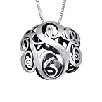 3D Monogram Necklace in Silver