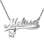 Double Thickness Silver Charm Name Necklace With Rollo Chain