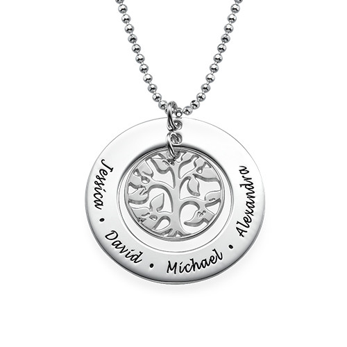 Silver Circle With Stamped Names /& Curly Tree Family Tree Necklace Sterling Silver