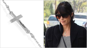 Engraved Side Cross Necklace Selma Blair
