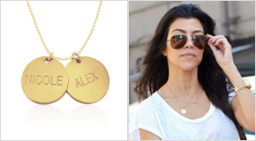 Engraved Disc Necklace Kourtney Kardashian