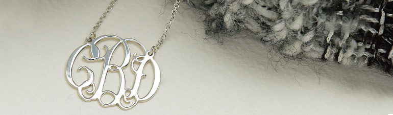 Celebrity Monogram Necklace in Sterling Silver
